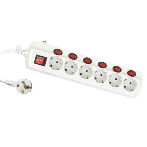 Base múltiple con interruptores individuales 6 tomas 1,5 metros (GSC 0800392) (Blíster)