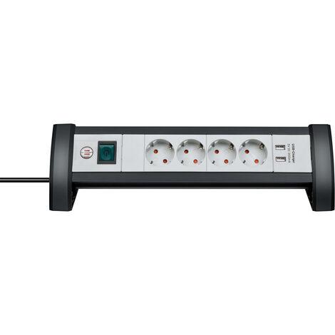 Base múltiple Premium Office Line de sobremesa con interruptor 4 tomas + 2 USB 1,8m. 3x1,5mm. (Brennenstuhl 1156250534)