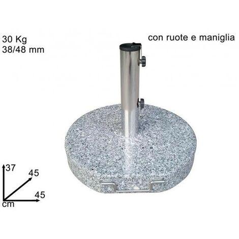 Base Ombrellone Con Ruote.Base Ombrellone Marmo Tonda Con Ruote E Maniglia 099070