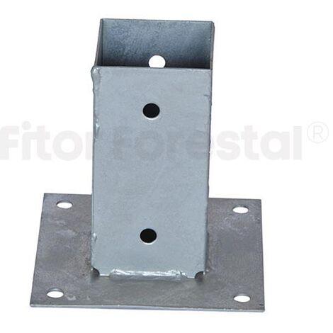 Base plana para poste 7x7cm zincada