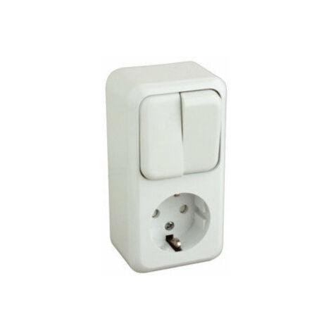Base schuko con doble interruptor de color blanco Electro Dh 36.470/BDC/B 8430552107018