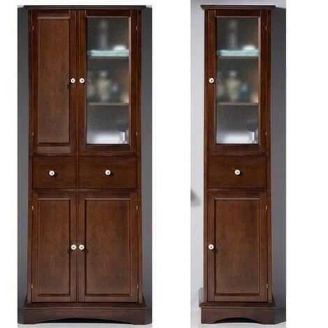 Base singola o doppia 41x176h o 64x176h cm in arte povera colonna stile  classico con vetrina