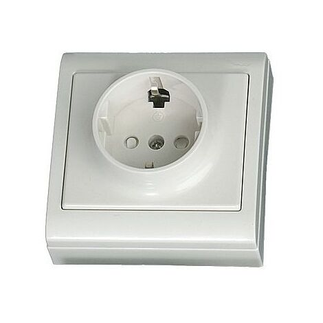 Base superficie LG80 Focus, schuko con T/T lateral blanca