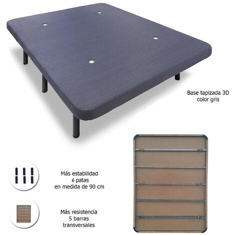 Base tapizada con 5 barras transversales + 6 o 7 patas de metal, con tejido 3D