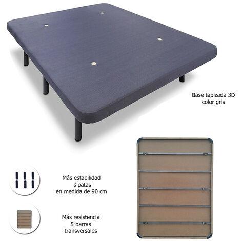 Base tapizada con 5 barras transversales + 6 o 7 patas de metal, con tejido 3D 135x190 + P 26