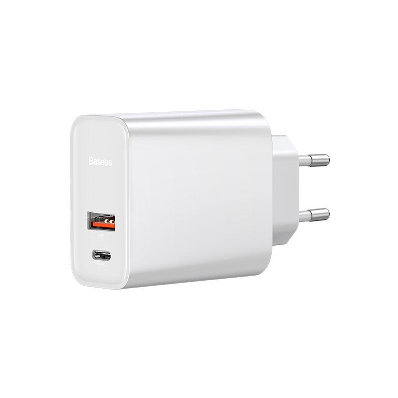 Baseus Speed ??Dual QC3.0 Chargeur rapide Type-C + Ports USB 30W EU Plug PD3.0 Travel Fast Charger 100-240V Pour Apple Samsung Huawei, modele: 60