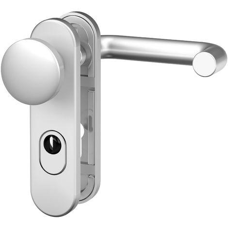 BASI® Feuerschutz Türbeschlag ZA | FS 2200K ES1 Aluminium Silber Wechsel-Garnitur Tür Schutzbeschlag Typ 7529-0301
