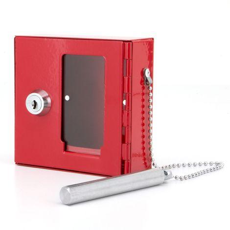 BASI® NK 215 Notschlüsselkasten mit Glasbrecher Rot Metall Sichtfenster Scheibe klein abschließbar gleichschließend