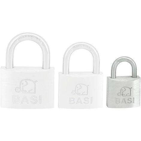 BASI® Vorhänge-Schloss Gleichschließend 30, 40 oder 50 mm Aluminium-Gehäuse 2 Schlüssel Bügel Keller-Schloß