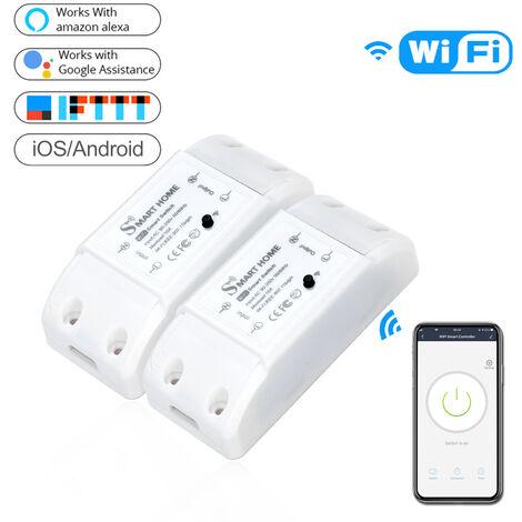 Basica inteligente de control remoto del interruptor Wifi compatible con Alexa Google Asistente Inteligente Vida App DIY su casa a traves Movil No se Hub es necesario, 2pcs