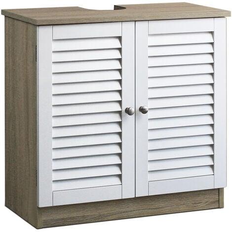 Basin base cabinet - 60x30x60cm - brown or 58x33x60cm - white Model 1 - Brown / White