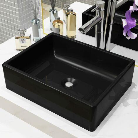 Basin Ceramic Rectangular Black 41x30x12 cm - Black