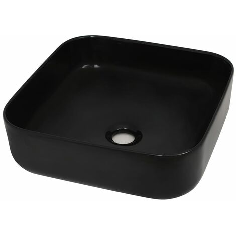 Basin Ceramic Square Black 38x38x13.5 cm