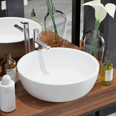 Basin Round Ceramic White 42x12 cm