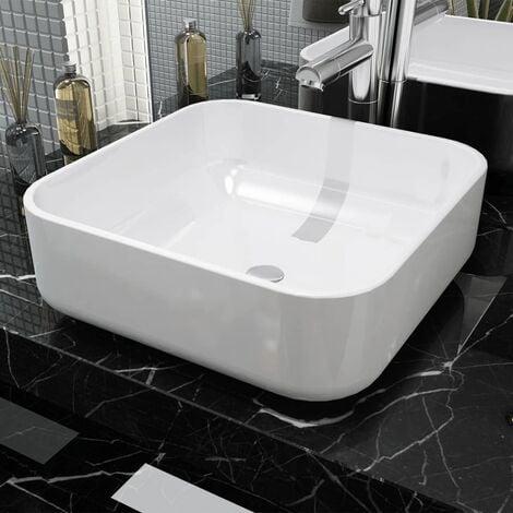 Basin Square Ceramic White 38x38x13.5 cm - White