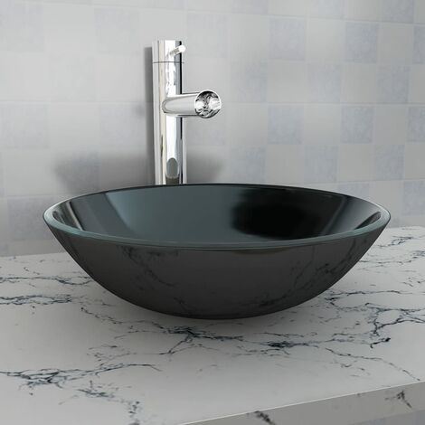 Basin Tempered Glass 42 cm Black