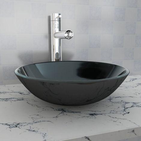 Basin Tempered Glass 42 cm Black