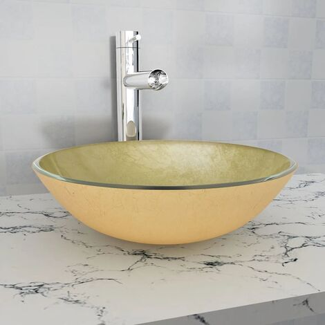 Basin Tempered Glass 42 cm Gold - Gold