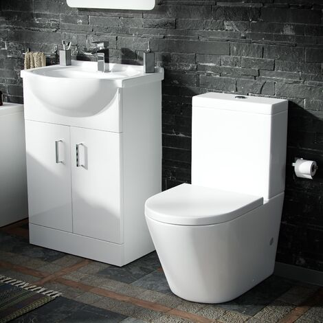 Basin Vanity Unit & Close Coupled WC Toilet with Straight Edge and Bath Bathroom Suite