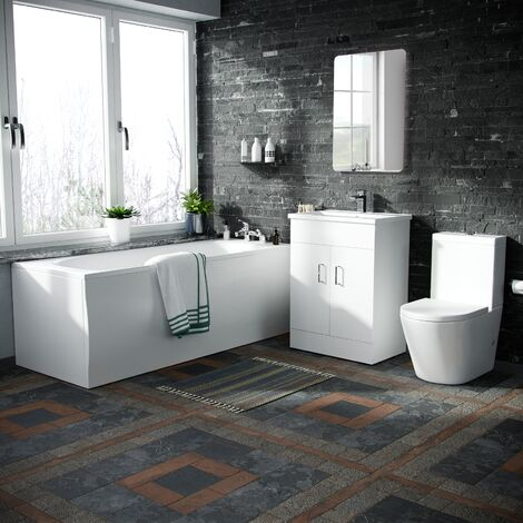 Basin Vanity Unit & Close Coupled WC Toilet with Straight Edge Bath Bathroom Suite