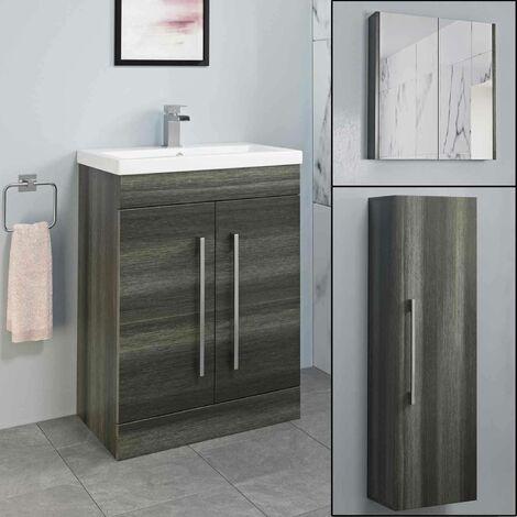 Basin Vanity Unit Mirror Cabinet Tall Cupboard Bathroom Bundle Charcoal