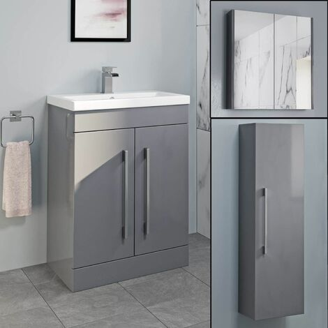 Basin Vanity Unit Mirror Cabinet Tall Cupboard Bathroom Bundle Grey Gloss