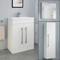 Basin Vanity Unit Mirror Cabinet Tall Cupboard Bathroom Bundle White Gloss