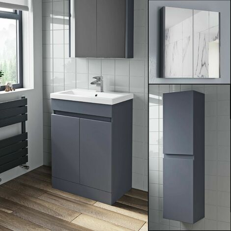 Basin Vanity Unit Mirror Cabinet Tall Cupboard Grey Gloss Bathroom Bundle