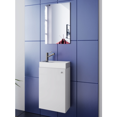 Basin white sink with cabinet and mirror WC