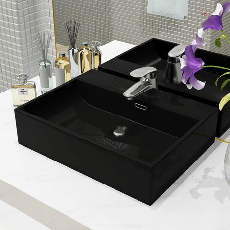 Basin with Faucet Hole Ceramic Black 51.5x38.5x15 cm