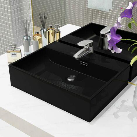 Basin with Faucet Hole Ceramic Black 51.5x38.5x15 cm - Black