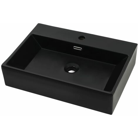 Basin with Faucet Hole Ceramic Black 60.5x42.5x14.5 cm