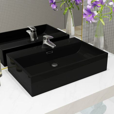 Basin with Faucet Hole Ceramic Black 60.5x42.5x14.5 cm - Black