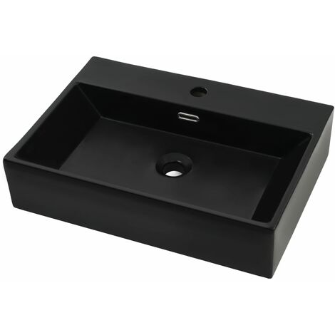 Basin with Faucet Hole Ceramic Black 76x42.5x14.5 cm