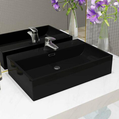 Basin with Faucet Hole Ceramic Black 76x42.5x14.5 cm - Black