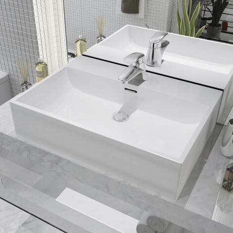 Basin with Faucet Hole Ceramic White 60.5x42.5x14.5 cm - White