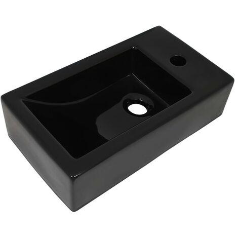 Basin with Faucet Hole Rectangular Ceramic Black 46x25.5x12 cm