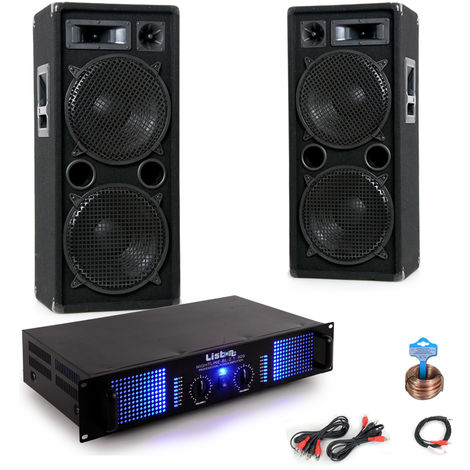 Basis PA Anlage mit 2000W Boxen und 2400W Endstufe DJ-155