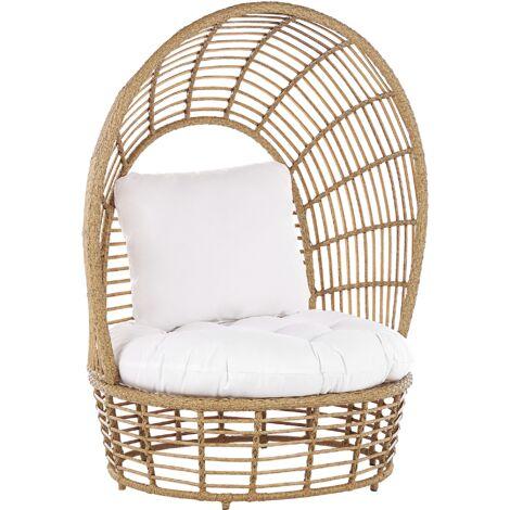 "main image of ""Basket Chair Beige Boho Rattan Sitting Cushion High Backrest Lido"""