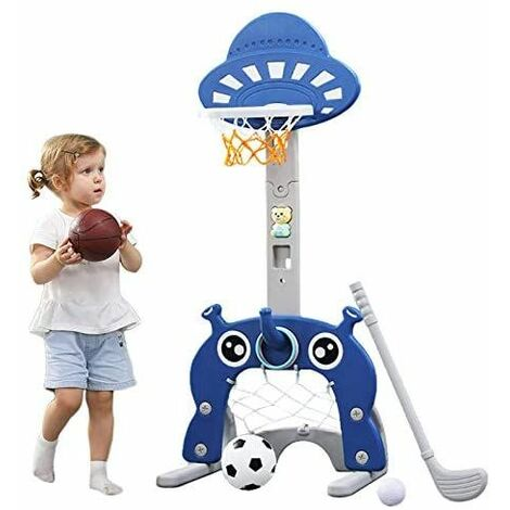 Basketball Hoop for Kids 4 in 1 Sports Activity Center Grow-to-Pro Adjustable Easy Score Basketball (dark blue)