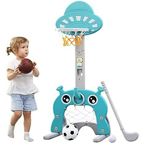 Basketball Hoop for Kids 4 in 1 Sports Activity Center Grow-to-Pro Adjustable Easy Score Basketball (green)