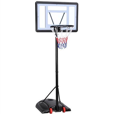 Basketballkorb Basketballständer mit Rollen Basketballanlage Standfuß mit Wasser Höhneverstellbar 217 bis 279 cm
