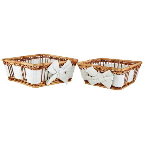 Baskets,Set of 2,Natural Fern with Lining