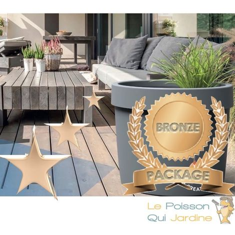 Bassin De Terrasse, Balcon, Kit Complet + LED + Substrate, Pack Bronze