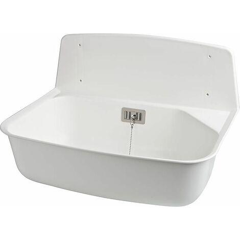 """Bassin d'évier plastique """"Marion"""" protection éclaboussures et trop-plein 525 x 376 x 342 mm blanc"""