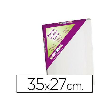 Bastidor lidercolor 5f lienzo grapado lateral algodon 100% marco pawlonia 1,8x3,8 cm bordes madera 35x27 cm