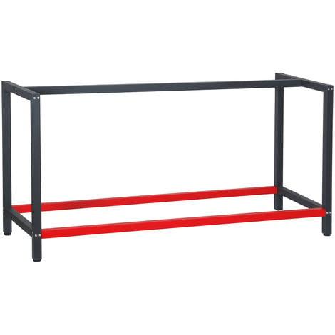 Bastidor para banco de trabajo 175x57x81cm Acero Antracita-rojo Armazón mesa taller Banco taller