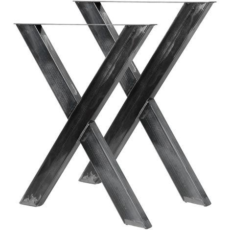 Conjunto de Patas de Mesa Negro 69 x 72 cm Set de 2X Patas de Mesa en.casa Patas para Mesa en Forma de X