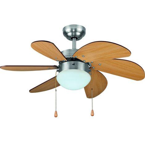 Bastilipo - Ventilatore da soffitto, attacco E27, 60 W, colore: grigio satinato, 75 x 29 cm