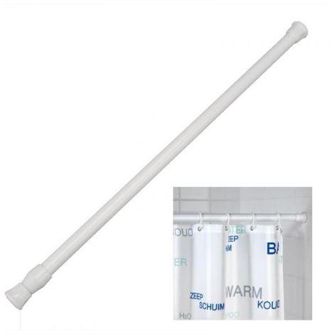 Bastoni Per Tende Con Ventose.Bastone Tubo Per Tenda Doccia Vasca 1 Lato Estensibile Bianco Cm 125 220